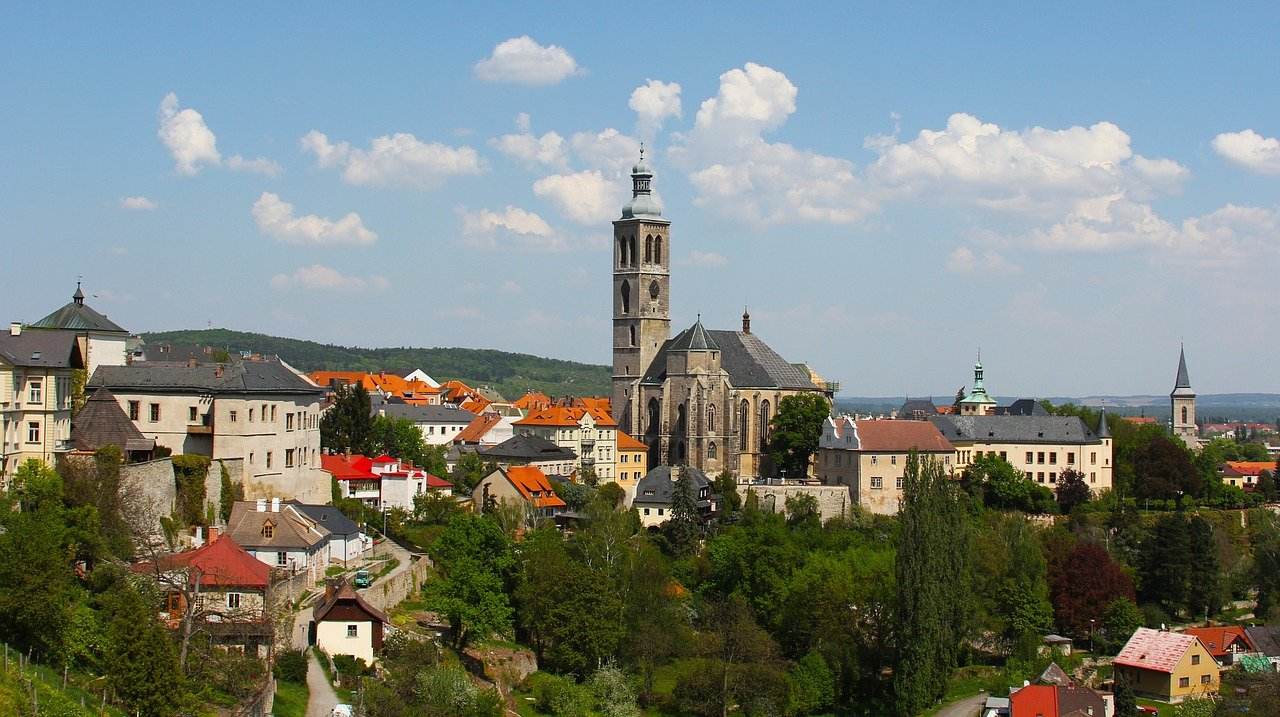 The skyline of a European town in the hills